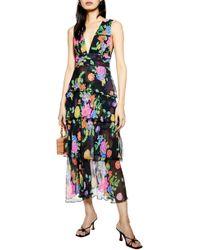 TOPSHOP Black Floral Plunge Pinafore Dress