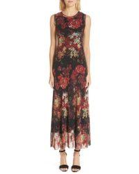 Fuzzi - Button Hem Tulle Maxi Dress(nordstrom Exclusive) - Lyst