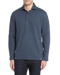 Thaddeus - Reiner Herringbone Long Sleeve Polo - Lyst