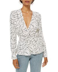 TOPSHOP - Obsession Twist Front Blouse - Lyst