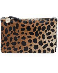 Clare V. - 'core' Leopard Print Genuine Calf Hair Pouch - - Lyst