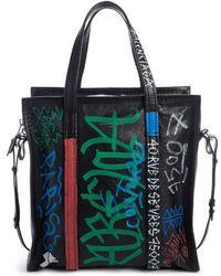 Balenciaga - Small Bazar Grafitti Leather Shopper - Lyst