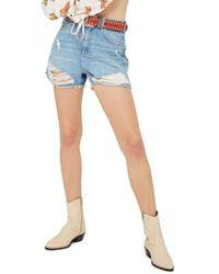 TOPSHOP | Ripped Denim Mom Shorts | Lyst