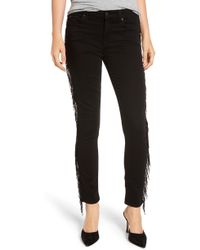 7 For All Mankind - 7 For All Mankind Beaded Fringe Ankle Skinny Jeans - Lyst