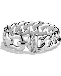 David Yurman - 'buckle' Single-row Bracelet With Diamonds - Lyst
