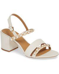 c74bbd6bd Lyst - Tory Burch Emmy Demi Wedge Thong Sandal in Metallic