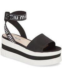 Miu Miu - Flatform Logo Sandal - Lyst