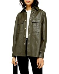 TOPSHOP Leather Shirt - Green