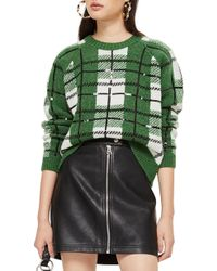 TOPSHOP - Sequin Plaid Sweater - Lyst