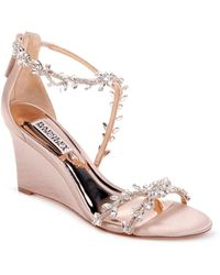 Badgley Mischka - Badgley Mischka Feather Crystal Embellished Wedge Sandal - Lyst