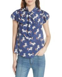 Alice + Olivia - Laney Unicorn Flutter Sleeve Silk Blouse - Lyst