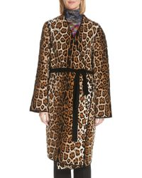 Fuzzi - Mixed Leopard Wrap Coat - Lyst