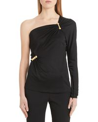 Versace Safety Pin Detail One-shoulder Top - Black