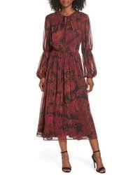 Maggy London - Double Puff Sleeve Midi Dress - Lyst