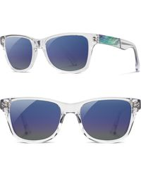 Shwood - Polarized Wood Inlay Sunglasses - Crystal/ Abalone Shell/ Blue - Lyst