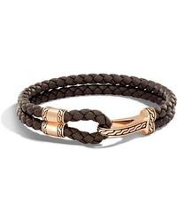 John Hardy - Classic Double Leather Chain Bronze Hook Bracelet - Lyst