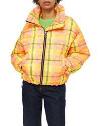 TOPSHOP - Bright Check Puffa Jacket - Lyst