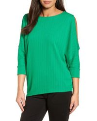 Chaus - Ribbed Knit Cold Shoulder Top - Lyst
