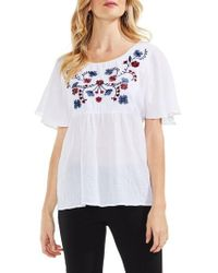 Vince Camuto | Embroidered Flutter Sleeve Blouse | Lyst