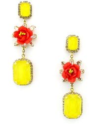 Elizabeth Cole - Graham Flower Drop Earrings - Lyst