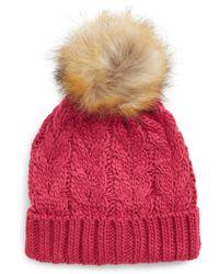 BP. - Knit Beanie With Faux Fur Pompom - Lyst