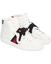 34b64959705 Lyst - Gucci New Ace Embroidered Leather High-top Trainers in White