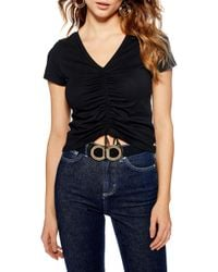 TOPSHOP - Ruched Front Tee - Lyst