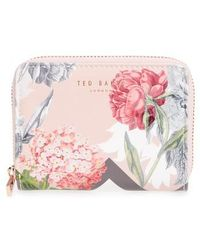 Ted Baker - Darla Palace Gardens Leather Zip Coin Purse - Lyst