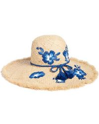 Kate Spade - Embroidered Hibiscus Straw Sun Hat - - Lyst