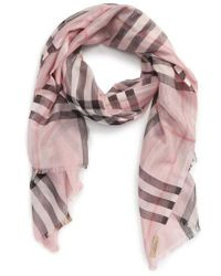 Burberry - Metallic Giant Check Scarf - Lyst