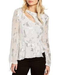 Bardot - Metallic Cutout Silk Blend Blouse - Lyst