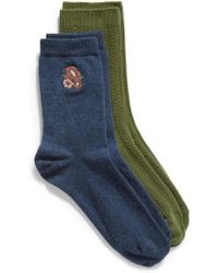 Treasure & Bond - 2-pack Cable Knit Crew Socks, Blue - Lyst