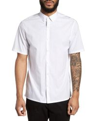 Theory - Murrary Trim Fit Dot Short Sleeve Sport Shirt - Lyst