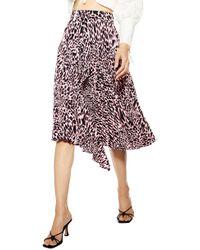 TOPSHOP Taylor Pink Animal Pleat Midi Skirt