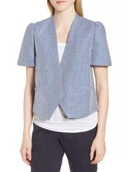 Nordstrom - Linen Cotton Puff Sleeve Jacket - Lyst