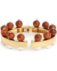 Lele Sadoughi - Wood Bead Hinge Bracelet - Lyst