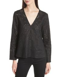 Theory - Relaxed V-neck Eyelet Linen Top - Lyst