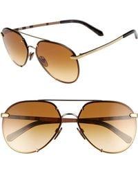 315c622ca2 Burberry - Trench 61mm Aviator Sunglasses - Light Gold Gradient - Lyst