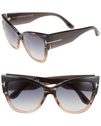 bbdc5a7e96 Lyst - Tom Ford Anoushka 57mm Mirrored Cat Eye Sunglasses in Gray