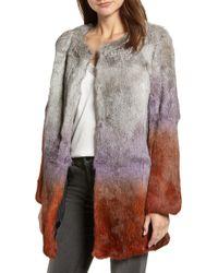 Love Token - Ombre Genuine Rabbit Fur Coat - Lyst