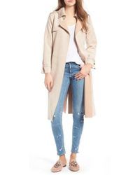 Love Token | Faux Suede Long Trench Coat | Lyst