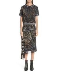 Fuzzi - Paisley-print Tulle Blouson Dress W/ Asymmetric Fringe - Lyst