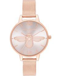 Olivia Burton - 3d Bee Mesh Strap Watch - Lyst