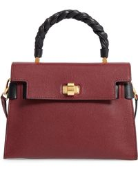 Miu Miu - Madras Click Goatskin Leather Satchel - Burgundy - Lyst