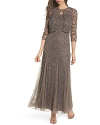 Pisarro Nights | Sequin Mesh Gown With Jacket | Lyst