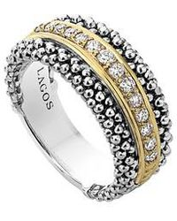 Lagos - Diamonds & Caviar Ring - Lyst