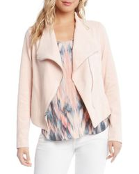 Karen Kane | Stretch Knit Moto Jacket | Lyst