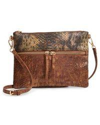 Sondra Roberts - Embossed Faux Leather Crossbody Bag - Lyst