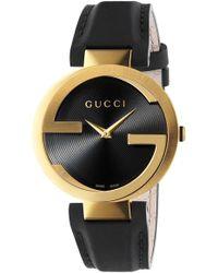 ded12ee1d3c Lyst - Gucci Interlocking 37mm Crocodile Leather Strap Watch ...