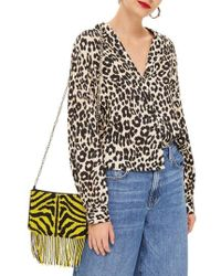 TOPSHOP - Jessica Animal Print Blouse - Lyst